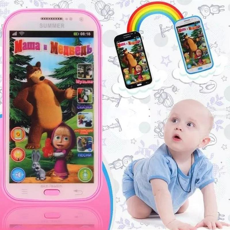 English/ Russian Song Baby Phone Toy Simulator Music Phone Touch Screen Children Electronic Learning Toy(China)