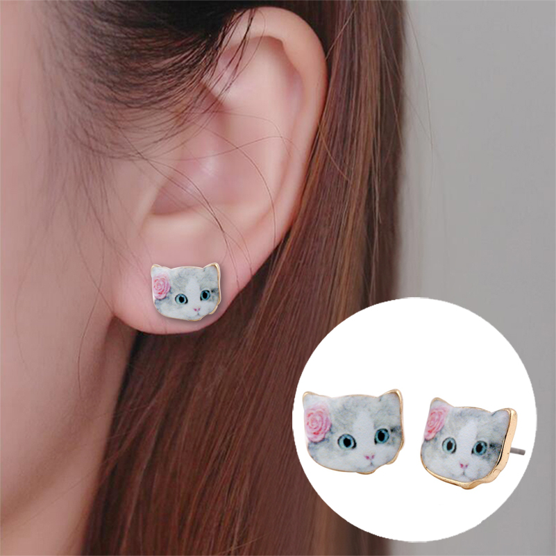 2016 Hot Sale New Fashion Designed Colorful Cute Animal Earrings Cat Head Earrings with Flower for Women OED038