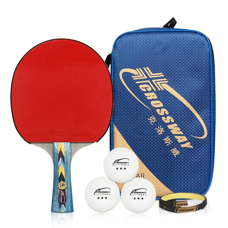 Crossway Professional 4-Star Raqueta de tenis de mesa + Estuche + Pelota Agarraderas horizontales en goma Ping Pong Ping pong