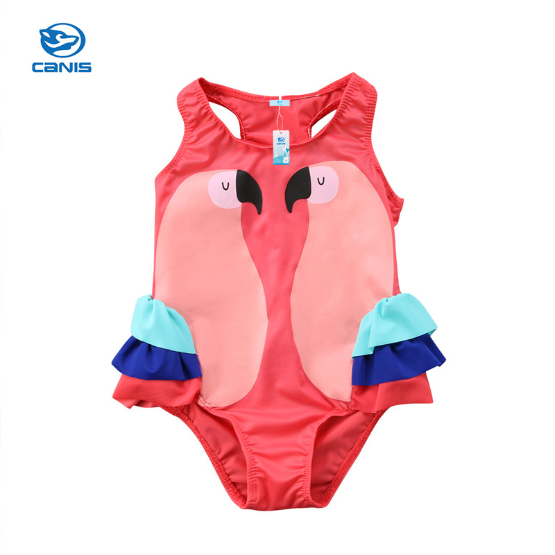 1a16e52a1a766 2018 Summer Children's Cartoon Swan Cute Baby Ruffles Swimwear Girls  Swimming Swimsuit Girls Baby Bathing Swimwear
