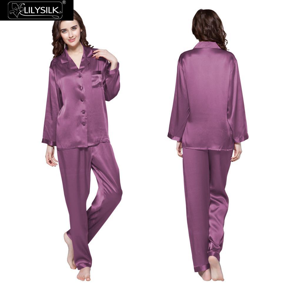 Lilysilk Pajama Set Woman 100% Pure Real Japanese Silk PJS Set Best Ladies  Slip Long 22 Momme Long Sleeve Wedding Sleepwear-in Pajama Sets from  Underwear ... 1fc502f9c