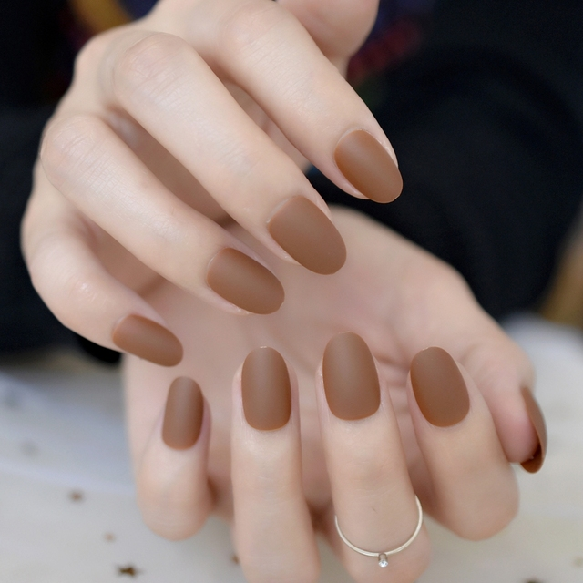 Coffee Brown Matte Nail Tips Medium Round DIY Acrylic Fake Nails for ...