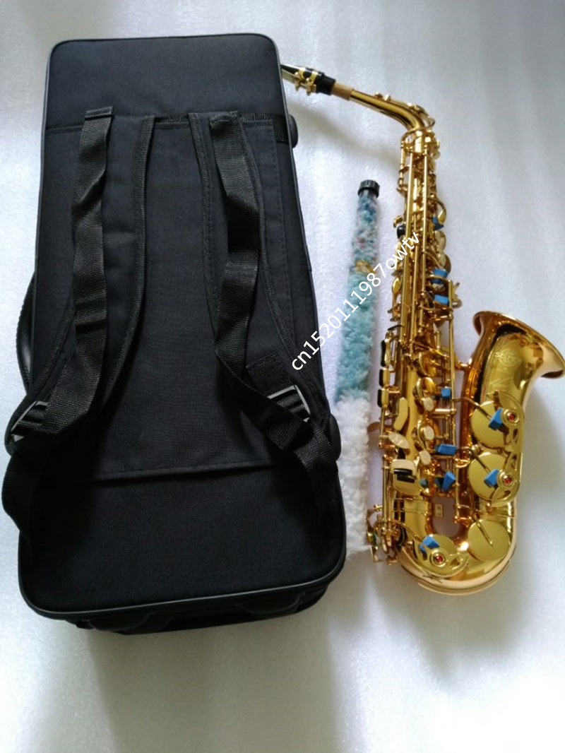 New Brand Alto sax France Henri Selmer 54 Golding Saxophone E musical instruments professional sax Free shipped backpack Case alto saxophone selmer 54 brass silver gold key e flat musical instruments saxophone with cleaning brush cloth gloves cork strap