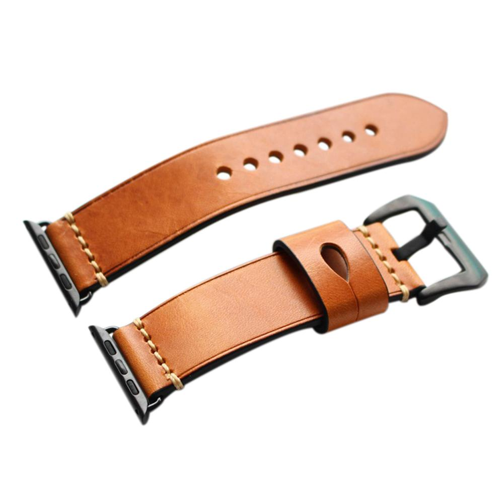 LinTimes New Men 125MM+75MM Manual Fashionable Genuine Leather Strap Watch Band for Apple Watch цена и фото
