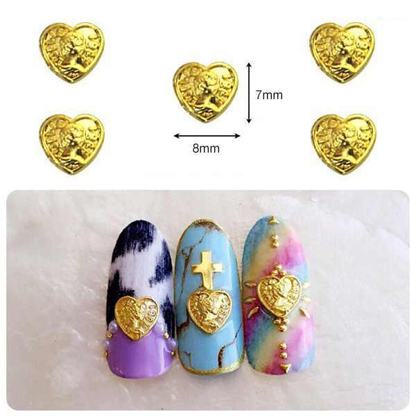 50ชิ้นทอง/เล็บโลหะสีเงินศิลปะเสน่ห์ความงามหัวหัวใจเหรียญทองเล็บอุปกรณ์โลหะผสมเครื่องประดับญี่ปุ่นเล็บสตั๊ด/rivetsชิ้นส่วน