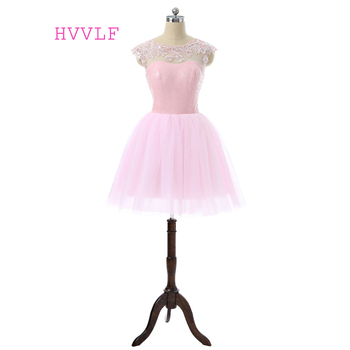 Pink Elegant 2019 Homecoming Dresses A-line Cap Sleeves Short Mini See Through Tulle Sequins Cocktail Dresses