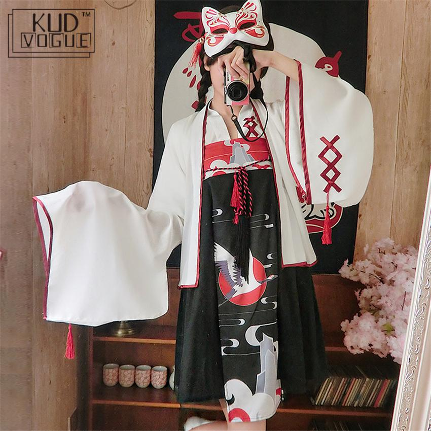 Kimono Japanese Style Crane Printed Japanese Traditional Woman Fashion Outfits Clothing Girls Party Dress Haori Stage Costume