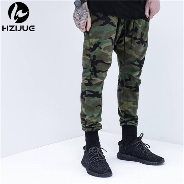 2017 HZIJUE Mens Jogger Autumn Pencil Harem Pants Men Camouflage Military Pants Loose Comfortable Cargo Trousers Camo Joggers