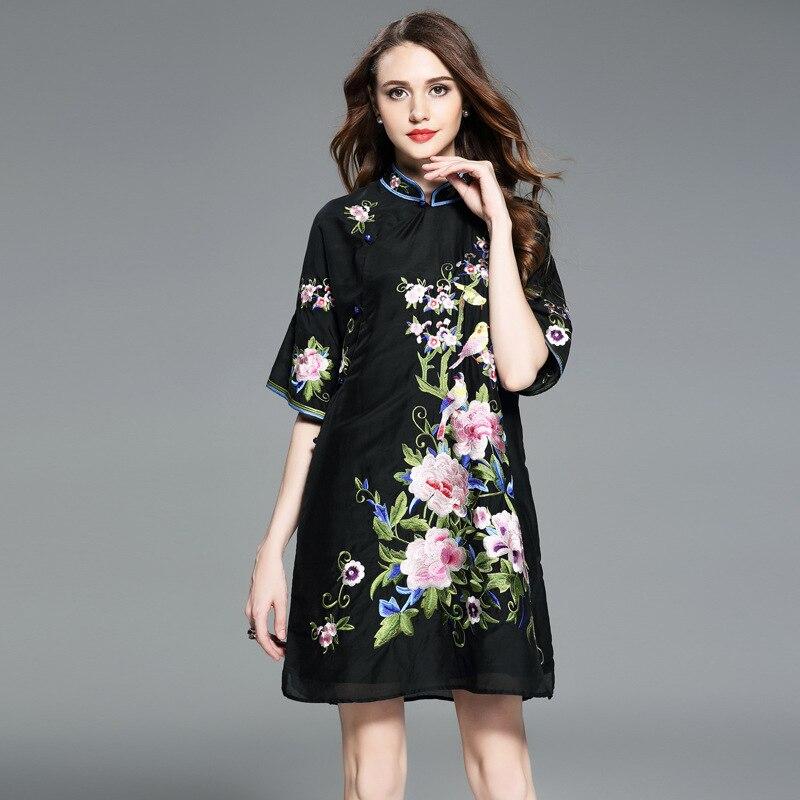 2019 summer Chinese style chiffon embroidery cheongsam maxi top dress
