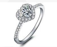Белое золото moisanite кольцо 1 карат муассанит кольцо женщин Обручение Свадебные Юбилей дня рождения
