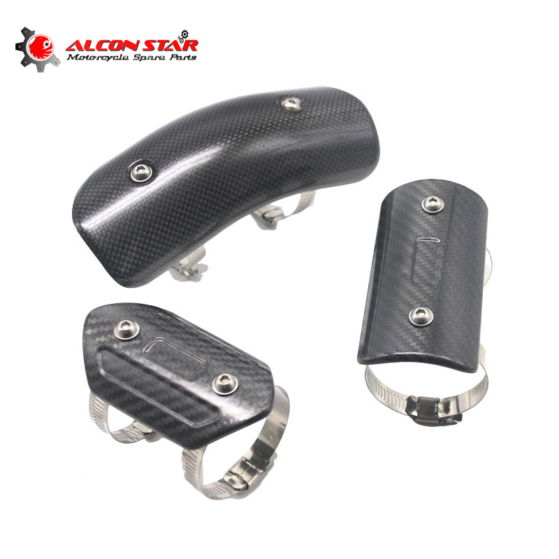 Alconstar Universal Motorcycle Muffler Pipe Middle Mid Link Connecting Pipe Carbon Fiber Protector Heat Shield for
