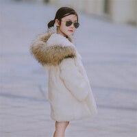 2017 детская с натуральным кроличьим Мех животных длинное пальто Детская верхняя одежда Обувь для девочек зима натуральный 100% кролик Мех жив