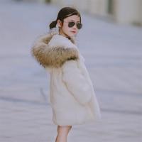 2017 Children Real Rabbit Fur Long Coat Outwear Kids Girls Winter Natural 100% Rabbit Fur Long Warm Jacket Coat for Girls