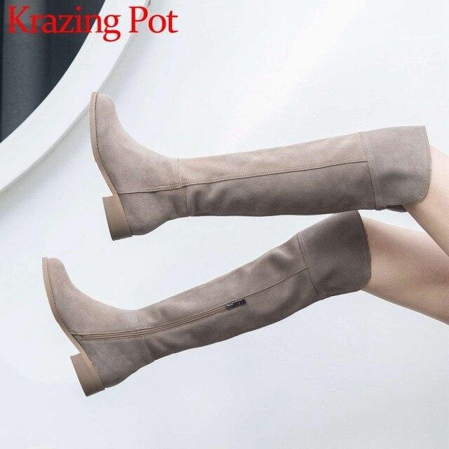 High Street Fashion Solid Zip Lederen Dij Hoge Laarzen Ronde Neus Lage Hakken Rome Elegante Vrouwelijke Over De Knie Laarzen L51