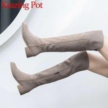 High Streetแฟชั่นซิปหนังแท้ต้นขาสูงรองเท้าบูทรอบToeรองเท้าส้นสูงโรมElegantหญิงOver รองเท้าบู๊ตเข่าL51