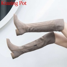 Yüksek sokak moda katı zip hakiki deri uyluk yüksek çizmeler yuvarlak ayak düşük topuklu roma zarif kadın üstü diz botları L51