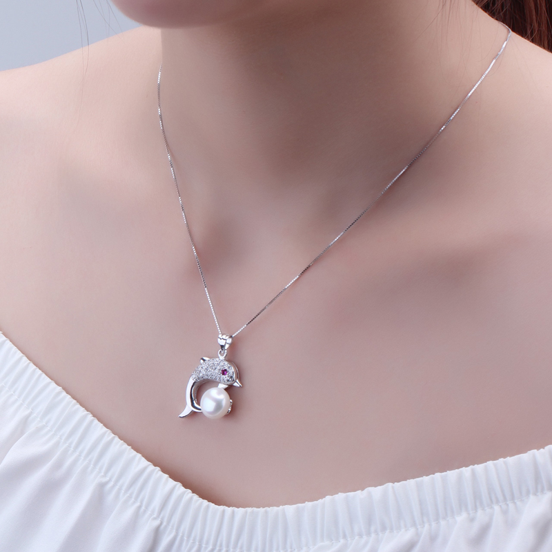 Fashion freshwater pearl pendant jewelry for women genuine natural pearl pendant necklace 925 silver girl party gift white color in Pendants from Jewelry Accessories