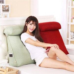 Image 2 - Smelov เตียงสามเหลี่ยมพนักพิงหมอนใหญ่กลับสนับสนุนหมอนข้างเตียง Lumbar Lumbar Cushion Lounger หมอน