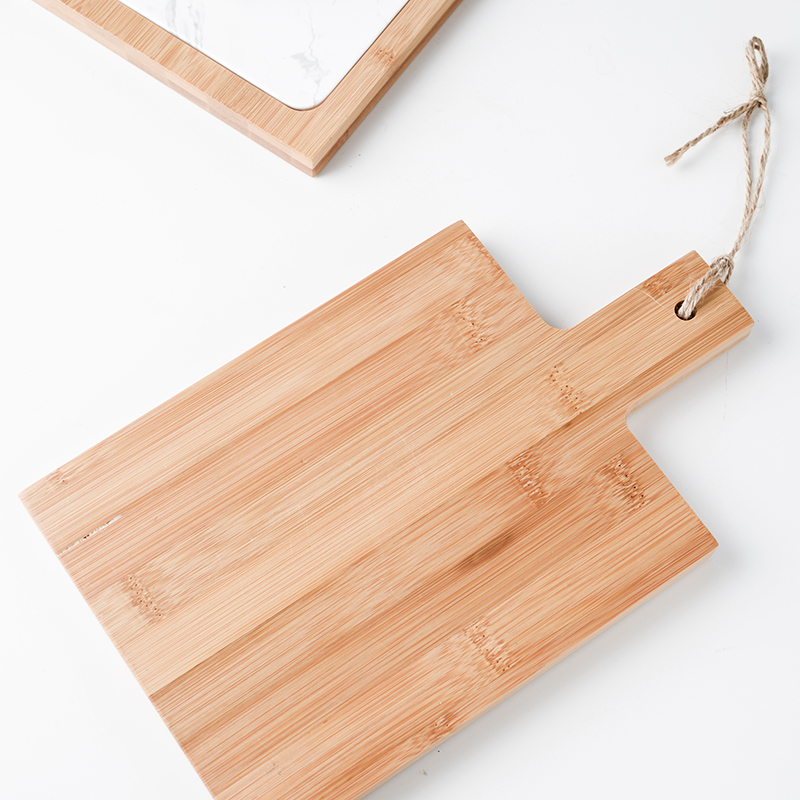 Nordic style ceramic flat bread cutting board sushi plate fight with bamboo handle pad creative storage rectangular buffet tray 3