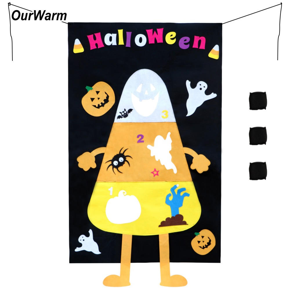 OurWarm Corn Hole Toss Game Birthday Party Decorations Kids Favors Felt Candy Corn Banner + 3pcs Bean Bags Fall Party Supplies