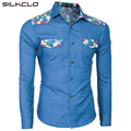 2016 Brand Clothing Autumn Long Sleeves Patchwork Floral Patchwork Men's Denim Shirt Slim Fit Casual Jeans Social Shirt Blue 2XL
