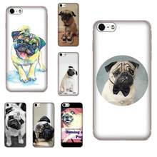Macio Cão Pug Para Apple iPhone 4 Coque 4S 5 5C 5S SE 6 6 S 7 8 Plus X XS Max XR(China)