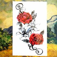 Bloody Red Rose Temporary Tattoo Body Art Sleeve Arm Flash Tattoo Stickers 12x20cm Painless Henna Selfie Tatoo Tattoo Stickers