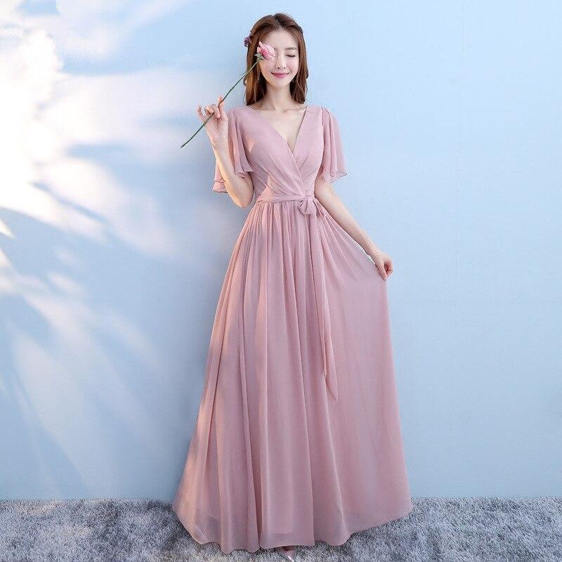 Zuolunouba 2018 sexy sisters pink slim Dresses wedding v neck belt women dress
