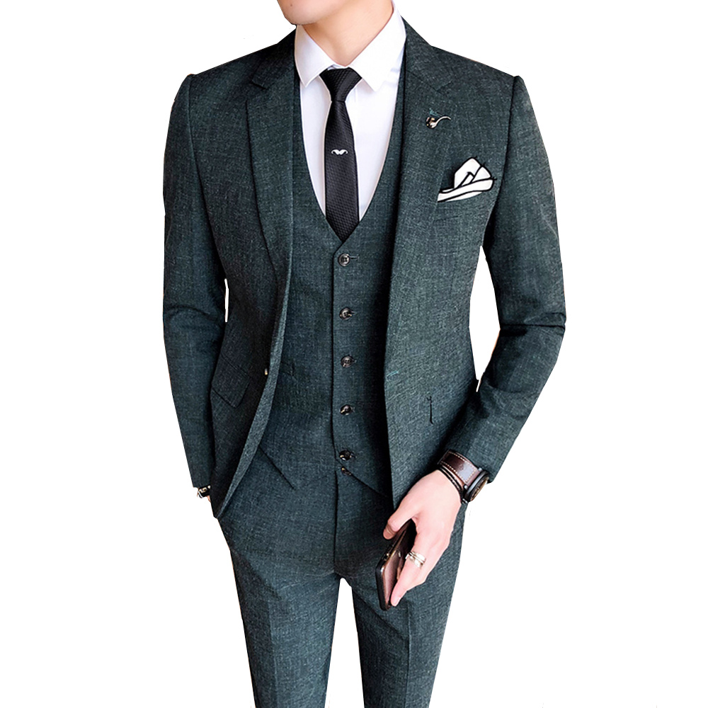 Wedding Tuxedo Suits For Men 2018 New High Quality Costume 3 Pieces Slim Fit Korean Youth Formal Groom Tuxedos Suit Set S-4XL