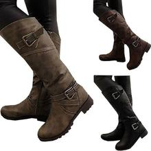 New Women Over Knee Boots Sexy Buckle Strap Flat boot autumn winter Women long Boots woman Zipper Motorcycle boots Botas Y281