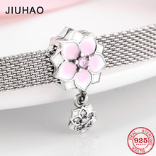 Hot sale 925 Sterling Silver Pink Poetic Cherry Flower Clips beads Fit Original reflexions Bracelet charms Jewelry making(China)