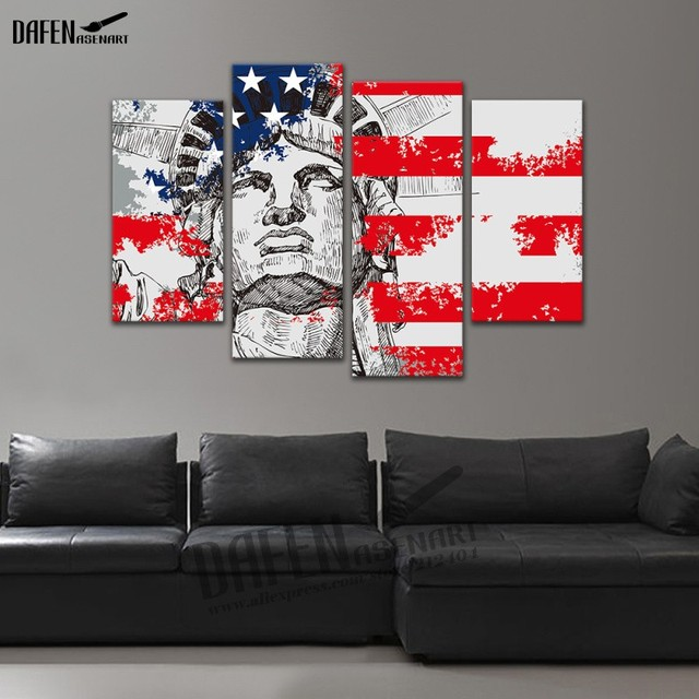 5e216dd7d9e 4 Panel framed Painting American flag The goddess of freedom Canvas Print Wall  Art Picture for Living Room Home Decoration