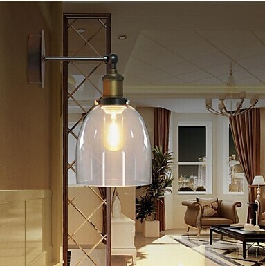 American Loft Style Edison Bulb Vintage Industrial Wall Lamp with Glass Shade,1Light E27 Bulb Included,Copper Wall Lamp 90V~260v vintage wall lamps industrial edison iron wall box glass shade coffee bar wall light loft warehouse lamp edison e27 bulb