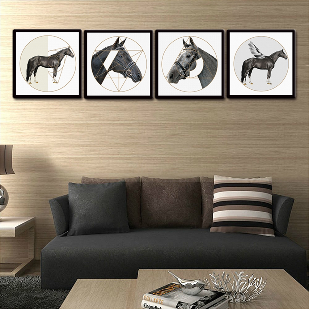 Nordic Poster Black and White Horse Wall Art Home Decor Animal Picture Print Canvas Painting for Living Room Wall Decor Dropship in Painting Calligraphy from Home Garden