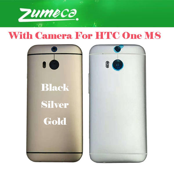AAA+ Quality For <font><b>HTC</b></font> One <font><b>M8</b></font> 831C <font><b>Battery</b></font> Cover Housing <font><b>Case</b></font> Door Rear Glass With Camera Black Silver Gold Color image