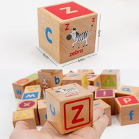 Wooden Puzzle Toys for Children Cube Shape Animals Words Letters Alphabet Learning Puzzle Bricks Educational Puzzle Game Toy