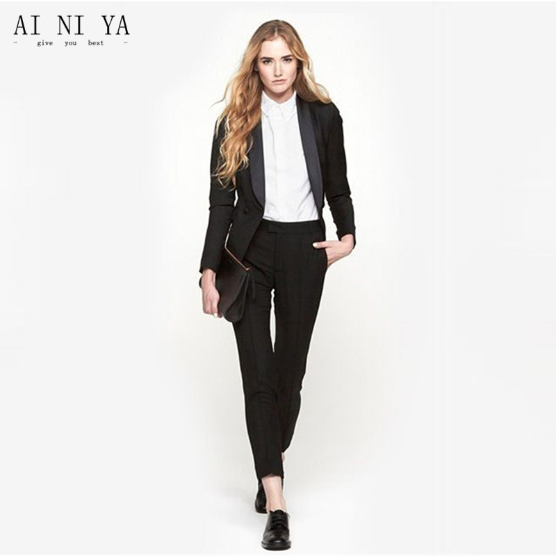 Black Womens Business Suits 2 Piece Formal Pant Suits For Weddings ...
