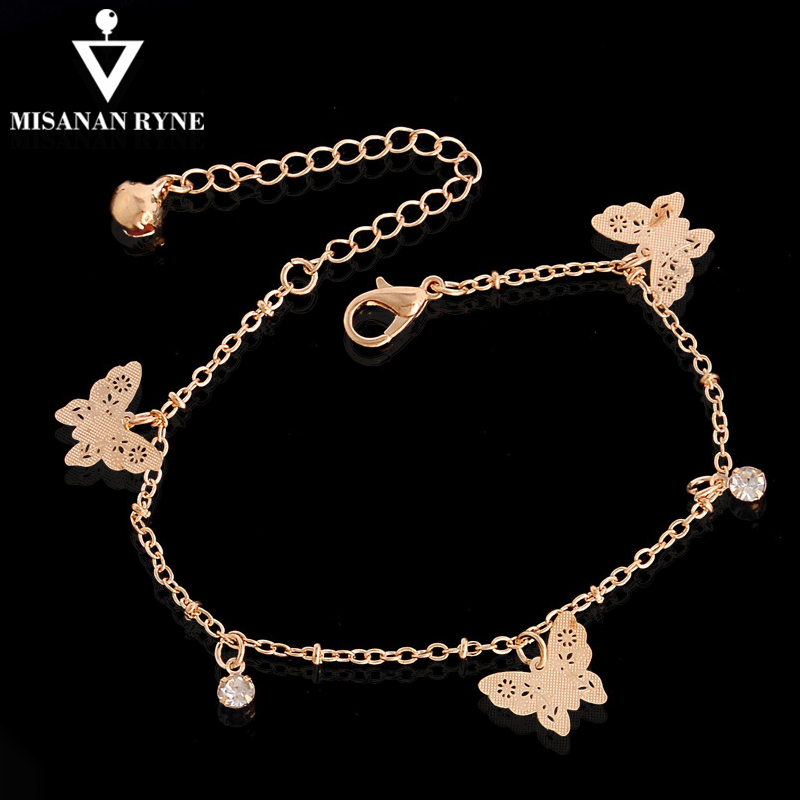 MISANANRYNE New Accessories butterfly anklet bracelet women fashion beach foot chain girl ankle bracelet on the leg jewelry