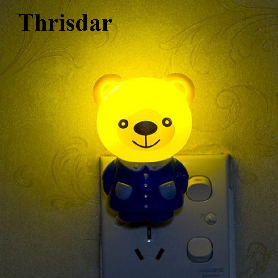 Thrisdar Cute Cartoon Novelty LED Night Light Tiger Brown Bear Wall Socket Night Light Bedroom Bedside Kids Baby Nursery Light