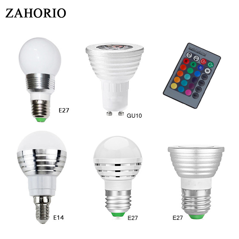 E27 RGB LED Bulb Lamp AC85-265V E14 GU10 3W 5W 10W LED Spot Blubs Stage Night Lights Holiday lighting+IR Remote Controller