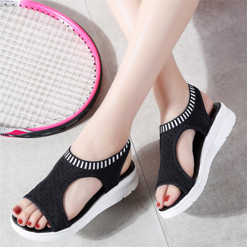 Sandals Women 2018 Ladies Black White Platform Wedge Sandals Shoes Black Summer Mesh Shoes Flat Sandals Shoes Women Sandals women creepers shoes 2015 summer breathable white gauze hollow platform shoes women fashion sandals x525 50