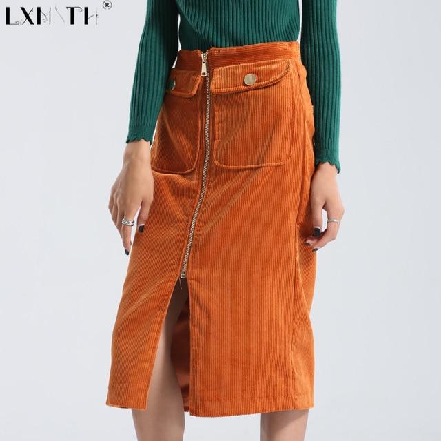 eb7b82fc518 Winter Corduroy Skirt Women Zipper Knee Length Padded Ladies Straight Skirts  Solid Front Slit Pockets Elegant Pencil Skirt Lady