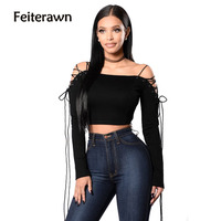 Feiterawn New Arrival Lacing Long Sleeved T Shirt 2017 The Latest Hot Sales Spring Women Novel