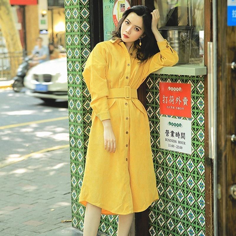 Donne Nuove Abiti Dell'annata Sensi Vestito yellow Antichi Temperamento Coste Manica Blackish Del Di A Velluto Lunga Vestiti 2019 Camicia Green Vita Modo Definito xTA0nqwXYC