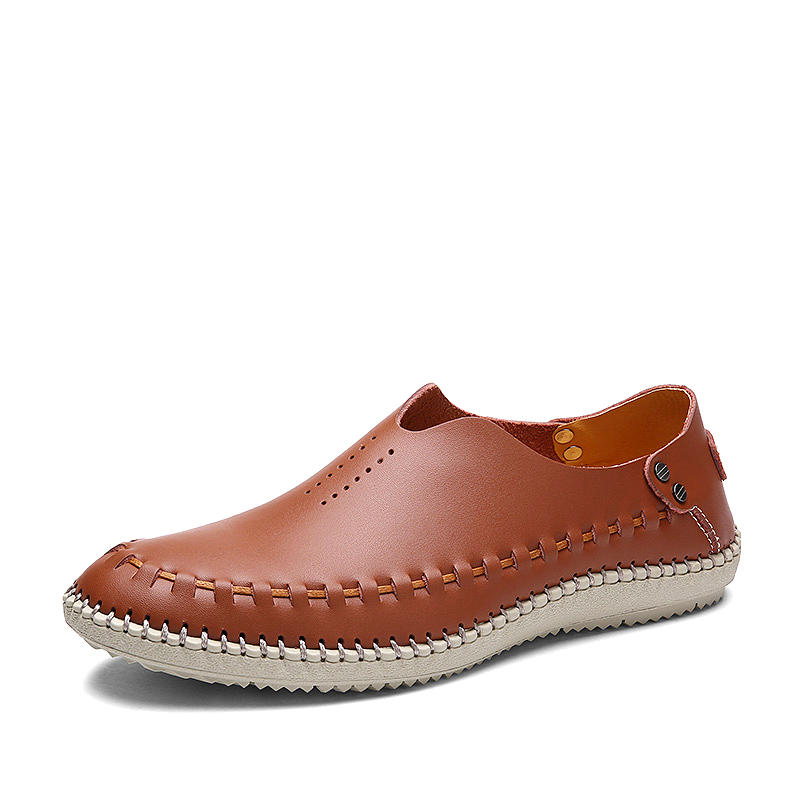 Breathable Shoes Spring Business Holes-Design Autumn Genuine-Leather POLALI Sapatos Masculinos