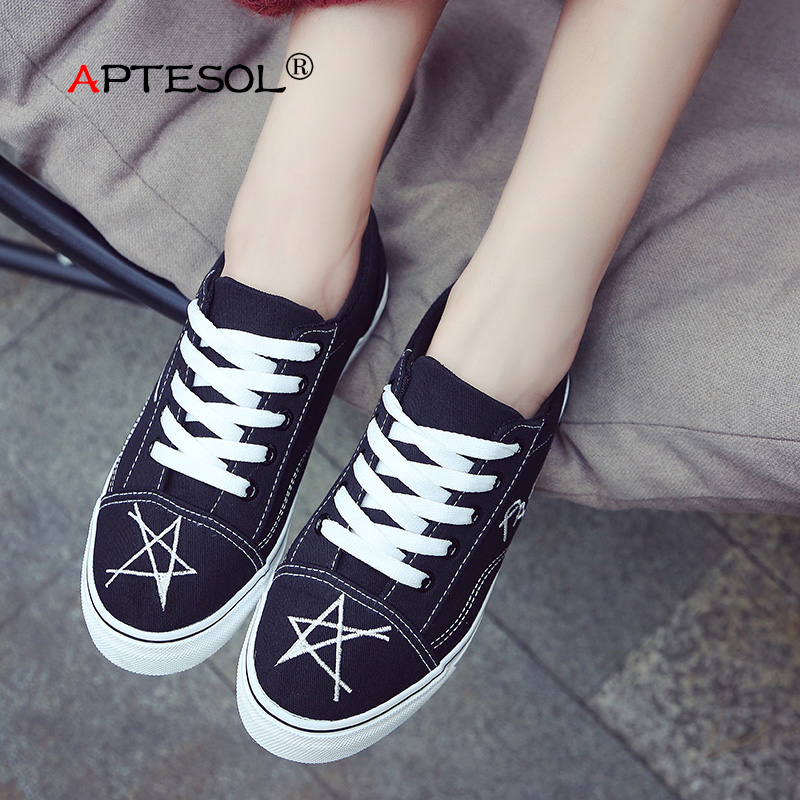 APTESOL Women Canvas Fashion Shoes Women's Casual Vulcanize Shoes Outdoor Daily Walking Shoes Lace Up Breathable Ladies Sneakers de la chance women vulcanize shoes platform breathable canvas shoes woman wedge sneakers casual fashion candy color students