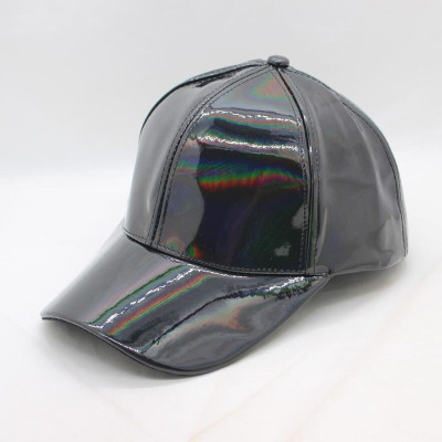2018 Fashion new PU leather bright patent leather Rainbow over bright color Europe and the United States tide brand baseball cap