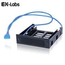 """En Labs 2 x USB 3.0 Sul Pannello Frontale w/3.5 """"Dispositivo/HDD o 2.5"""" SSD /HDD per 5.25 Floppy per Optical Drive Bay Staffa Vassoio Convertitore"""