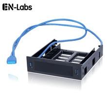 """En labs 2 x usb 3.0 전면 패널 (3.5 """"장치/hdd 또는 2.5"""" ssd/hdd 5.25 플로피 광학 드라이브 베이 트레이 브래킷 변환기)"""