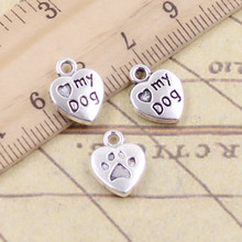 10pcs Charms heart love my dog 13x10mm Tibetan Silver Plated Pendants Antique Jewelry Making DIY Handmade Craft(China)